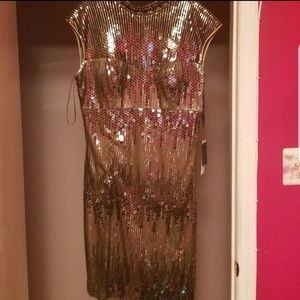 Gold sequin Sue Wong size 14 dress NWT